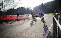 Wout Van Aert (BEL/Vastgoedservice-Golden Palace) leading, followed closely by Michael Vanthourenhout (BEL/Sunweb-Napoleon Games)<br /> <br /> Superprestige Francorchamps 2014