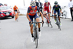 Vincenzo Nibali (ITA) Bahrain-Merida attacks Nairo Quintana (COL) Movistar Team, Domenico Pozzovivo (ITA) AG2R and Ilnur Zakarin (RUS) Team Katusha Alpecin on the slopes of the Umbrail Pass the final climb during Stage 16 of the 100th edition of the Giro d'Italia 2017, running 222km from Rovetta to Bormio, Italy. 23rd May 2017.<br /> Picture: LaPresse/Fabio Ferrari | Cyclefile<br /> <br /> <br /> All photos usage must carry mandatory copyright credit (&copy; Cyclefile | LaPresse/Fabio Ferrari)