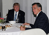 United States President-elect Donald Trump sits at a table with former Governor Mitt Romney (Republican of Massachusetts) at Jean Georges Restaurant on November 29, 2016 in New York City. U.S. President-elect Donald Trump spent the afternoon holding meetings at Trump Tower as he continues to fill in key positions in his new administration.      <br /> Credit: John Angelillo / Pool via CNP