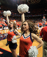 Virginia cheerleaders during an ACC basketball game Jan. 31, 2015 in Charlottesville, VA. Duke won 69-63.