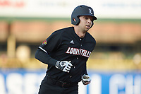 Drew Ellis (10) of the Louisville Cardinals runs the bases after a home run against the Notre Dame Fighting Irish in Game Eight of the 2017 ACC Baseball Championship at Louisville Slugger Field on May 25, 2017 in Louisville, Kentucky. The Cardinals defeated the Fighting Irish 10-3. (Brian Westerholt/Four Seam Images)