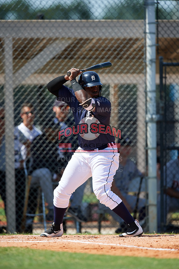 GCL Tigers East first baseman Luis Laurencio (29) at bat during a game against the GCL Tigers West on August 8, 2018 at Tigertown in Lakeland, Florida.  GCL Tigers East defeated GCL Tigers West 3-1.  (Mike Janes/Four Seam Images)