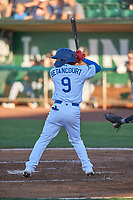 Kenneth Betancourt (9) of the Ogden Raptors bats against the Grand Junction Rockies at Lindquist Field on June 15, 2019 in Ogden, Utah. The Raptors defeated the Rockies 12-11. (Stephen Smith/Four Seam Images)
