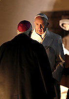 Papa Francesco omaggia il Presepe al termine dei Primi Vespri e Te Deum in ringraziamento per l'anno trascorso, in Piazza San Pietro, Citta' del Vaticano, 31 dicembre 2015.<br /> Pope Francis pays homage to the Nativity scene at the end of a new year's eve vespers Mass, in St. Peter's Square, at the Vatican 31 December 2015.<br /> UPDATE IMAGES PRESS/Isabella Bonotto<br /> <br /> STRICTLY ONLY FOR EDITORIAL USE