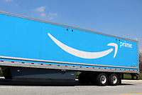 LOS ANGELES - APR 11:  Amazone Prime Truck at the Businesses Responding to COVID-19 at the Amazon Fulfillment Center on April 11, 2020 in San Bernardino, CA