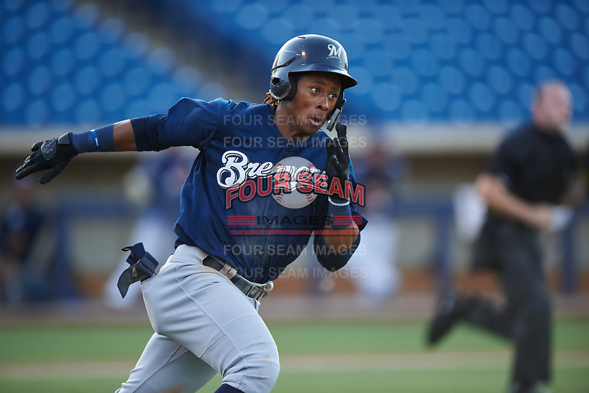 AZL Brewers Blue Orveo Saint (30) sprints around first base during an Arizona League game against the AZL Brewers Gold on July 13, 2019 at American Family Fields of Phoenix in Phoenix, Arizona. The AZL Brewers Blue defeated the AZL Brewers Gold 6-0. (Zachary Lucy/Four Seam Images)