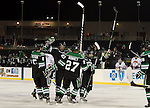 OMAHA, NE - FEBRUARY 9:  Jordan Schmaltz #24 from the University of North Dakota celebrates a goal with teammates against the University of Nebraska Omaha in the first period at the Battle on Ice Saturday at TD Ameritrade in Omaha, NE. (Photo by Dave Eggen/Inertia)