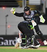 Blackcaps wicketkeeper Tim Seifert stumps Agar. New Zealand Black Caps v Australia.Tri-Series International Twenty20 cricket final. Eden Park, Auckland, New Zealand. Wednesday 21 February 2018. © Copyright Photo: Andrew Cornaga / www.Photosport.nz