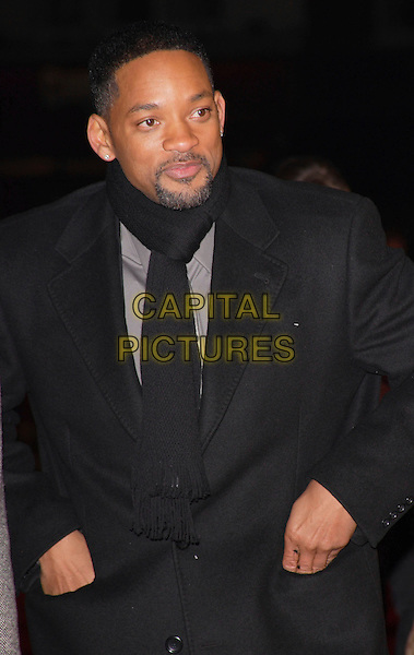 "WILL SMITH.""I Am Legend"" UK film premiere, Odeon Leicester Square, London, England..December 19th, 2007.half length black jacket goatee facial hair coat scarf hands in pockets .CAP/ROS.©Steve Ross/Capital Pictures"
