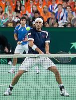 08-05-10, Tennis, Zoetermeer, Daviscup Nederland-Italie, Dubbles  Simone Bolelli and Potito Starace(foreground)
