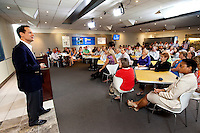 Photography of UTC's Mike Dumais  speaking with the new UTC Aerospace Systems employees at the new Charlotte headquarter in Charlotte, North Carolina.<br />