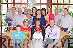 BABY JOY: Proud parents Ashling and Connie Barrett, Scrahan, Castleisland of little Jay who was Christened by Fr Flynn at the Church of the Immaculate Conception, Currow and celebrated afterwards with family and friends at the Ballygarry House hotel on Saturday seated l-r: Jamie and Sandra Burke and Aisling, Jay and Connie Barrett. Back l-r: Ryan and David Burke, Mike Geaney, Colm Doyle, Eileen Geaney, Caroline, Deirdre, Mary, Deirdre and Johnny Barrett and Tom Griffin.