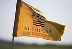 ALCAIDESA - SPANJE -  hole vlag met logo.   .  Links Golf. COPYRIGHT KOEN SUYK