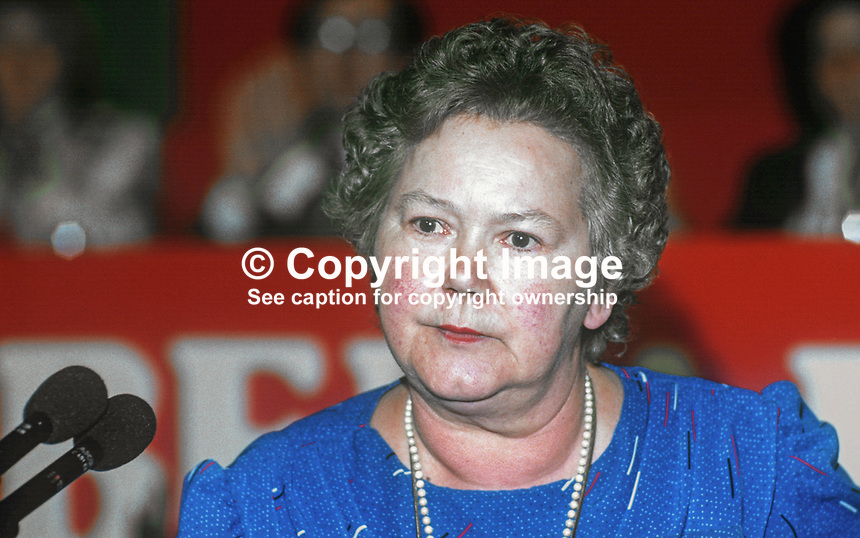 Claire Brooks, PPC, prospective parliamentary candidate, Liberal Party, Lancaster, UK, speaking annual conference September 1986. 19860918CB3<br /> <br /> Copyright Image from Victor Patterson, 54 Dorchester Park, Belfast, UK, BT9 6RJ<br /> <br /> t1: +44 28 9066 1296 (from Rep of Ireland 048 9066 1296)<br /> t2: +44 28 9002 2446 (from Rep of Ireland 048 9002 2446)<br /> m: +44 7802 353836<br /> <br /> victorpatterson@me.com<br /> www.victorpatterson.com<br /> <br /> Please see my Terms and Conditions of Use at victorpatterson.com . It is IMPORTANT that you familiarise yourself with them.<br /> <br /> Images used on the Internet incur an additional cost and must be visibly watermarked i.e. &copy;Victor Patterson within the body of the image and copyright metadata must not be deleted. Images used on the Internet have a size restriction of 4kbs and are chargeable at rates available at victorpatterson.com.<br /> <br /> This image is only available for the use of the download recipient i.e. television station, newspaper, magazine, book publisher, etc, and must not be passed on to any third party. It is also downloaded on condition that each and every usage is notified within 7 days to victorpatterson@me.com<br /> <br /> The right of Victor Patterson to be identified as the author is asserted in accordance with The Copyright Designs And Patents Act (1988). All moral rights are asserted.