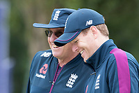 Eoin Morgan (England) with Trevor Bayliss during a Training Session at Edgbaston Stadium on 10th July 2019