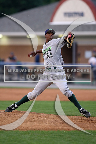 June 25th 2008:  Pitcher Wayman Gooch of the Jamestown Jammers, Class-A affiliate of the Florida Marlins, during a game at Dwyer Stadium in Batavia, NY.  Photo by:  Mike Janes/Four Seam Images