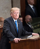 United States President Donald J. Trump delivers his first State of the Union address to a joint session of the US Congress in the US House chamber in the US Capitol in Washington, DC on Tuesday, January 30, 2018.<br /> Credit: Ron Sachs / CNP<br /> (RESTRICTION: NO New York or New Jersey Newspapers or newspapers within a 75 mile radius of New York City)