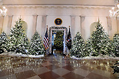 "The 2017 White House Christmas decorations, with the theme ""Time-Honored Traditions,"" which were personally selected by first lady Melania Trump, are previewed for the press in Washington, DC on Monday, November 27, 2017.  Pictured are the trees in the Grand Foyer that visitors would see as they enter from the North Portico looking towards the Blue Room.<br /> Credit: Ron Sachs / CNP"