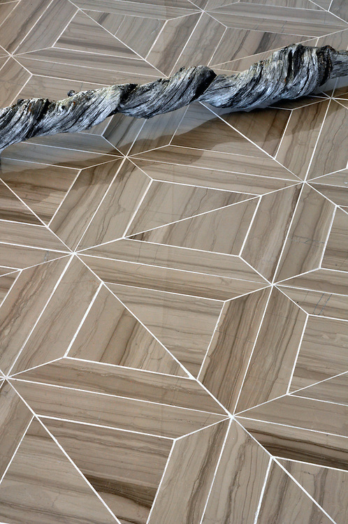 Truman, a natural stone waterjet mosaic shown in Driftwood polished, is part of the Parquet Line by New Ravenna.