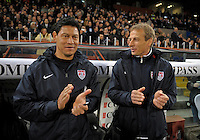 Martin Vasquez (l, USA), Coach Juergen Klinsmann  (r,USA), during the friendly match Italy against USA at the Stadium Luigi Ferraris at Genoa Italy on february the 29th, 2012.