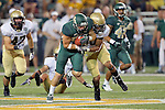 Baylor Bears running back Lache Seastrunk (25) and Wofford Terriers defensive end Hunter Thurley (90) in action during the game between the Wofford Terriers and the Baylor Bears at the Floyd Casey Stadium in Waco, Texas. Baylor defeats Woffard 69 to 3.