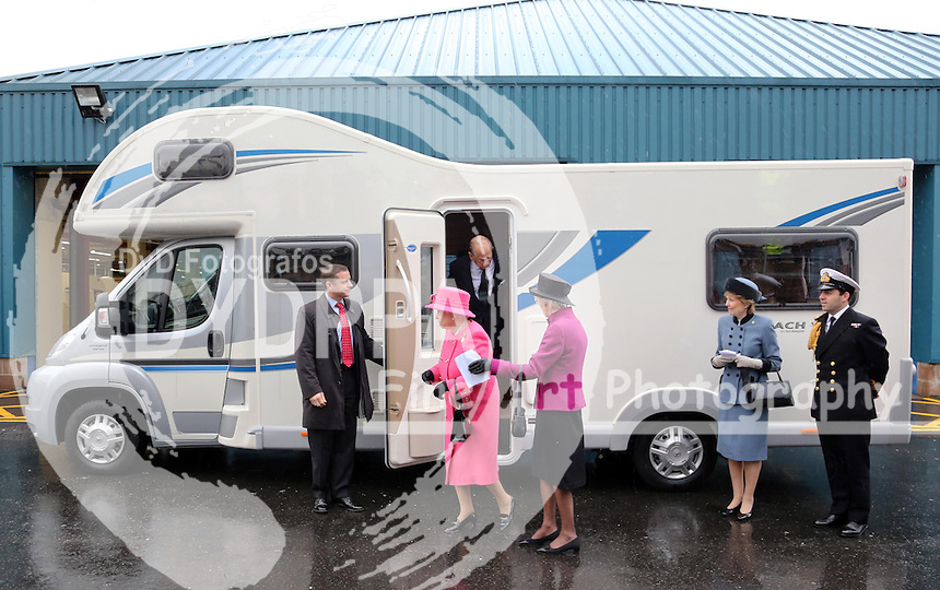 The Queen steps out of a motorhome during a visit to Bailey Caravans in Bristol, Thursday, 22nd November 2012  Photo by: Stephen Lock / i-Images / DyD Fotografos