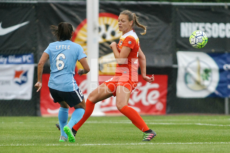 Piscataway, NJ - Saturday July 09, 2016: Taylor Lytle, Cami Privett during a regular season National Women's Soccer League (NWSL) match between Sky Blue FC and the Houston Dash at Yurcak Field.