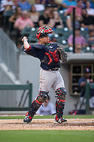 Pawtucket Red Sox catcher Christian Vazquez (7) on defense against the Charlotte Knights at BB&T BallPark on July 6, 2016 in Charlotte, North Carolina.  The Knights defeated the Red Sox 8-6.  (Brian Westerholt/Four Seam Images)