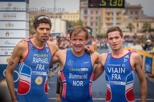 08/05/2016 - Elite Men podium at the finish line of 2016 Cagliari ITU Triathlon World Cup -