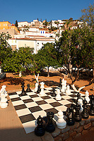 Chess board in the central park of Hydra, Greek Cyclades Islands
