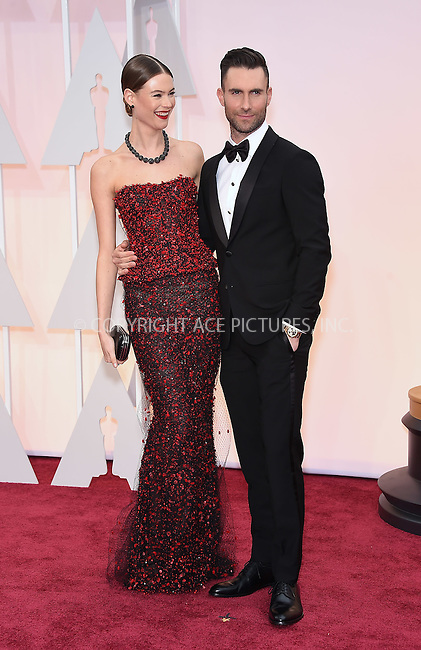 WWW.ACEPIXS.COM<br /> <br /> February 22 2015, LA<br /> <br /> Behati Prinsloo and Adam Levine arriving at the 87th Annual Academy Awards at the Hollywood &amp; Highland Center on February 22, 2015 in Hollywood, California<br /> <br /> <br /> By Line: Z15/ACE Pictures<br /> <br /> <br /> ACE Pictures, Inc.<br /> tel: 646 769 0430<br /> Email: info@acepixs.com<br /> www.acepixs.com