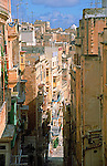 Narrow street in Valletta capital city of the island nation of Malta