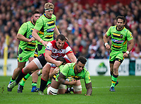 Northampton Saints' Courtney Lawes is tackled by Gloucester Rugby's Val Rapava Ruskin <br /> <br /> Photographer Ashley Western/CameraSport<br /> <br /> Aviva Premiership - Gloucester v Northampton Saints - Saturday 7th October 2017 - Kingsholm Stadium - Gloucester<br /> <br /> World Copyright &copy; 2017 CameraSport. All rights reserved. 43 Linden Ave. Countesthorpe. Leicester. England. LE8 5PG - Tel: +44 (0) 116 277 4147 - admin@camerasport.com - www.camerasport.com