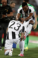 Calcio, Tim Cup: finale Juventus vs Lazio. Roma, stadio Olimpico, 17 maggio 2017.<br /> Juventus' Dani Alves, left, celebrates with his teammate Alex Sandro after scoring during the Italian Cup football final match between Juventus and Lazio at Rome's Olympic stadium, 17 May 2017.<br /> UPDATE IMAGES PRESS/Isabella Bonotto