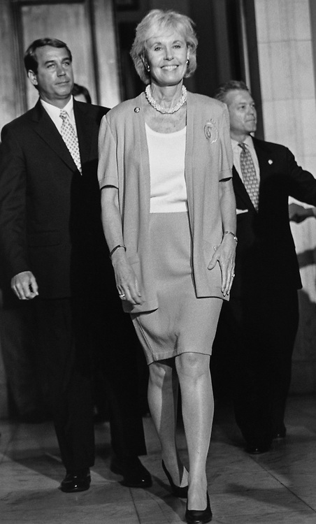 Rep. Jennifer Dunne, R-Wash., walks confidently towards the press after being elected as the new Vice Chairman of the GOP Conference, on July 16, 1997. (Photo by Maureen Keating/CQ Roll Call via Getty Images)