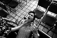 A Mexican woman screams intensively during the exorcism rite practised at the Church of the Divine Saviour in of Mexico City, Mexico, 31 May 2011. Exorcism is an ancient religious technique of evicting spirits, generally called demons or evil, from a person which is believed to be possessed. Although the formal catholic rite of exorcism is rarely seen and must be only conducted by a designated priest, there are many Christian pastors and preachers (known as 'exorcistas') performing exorcism and prayers of liberation. Using their strong charisma, special skills and religous formulas, they command the evil spirit to depart a victim's mind and body, usually invoking Jesus Christ or God to intervene in favour of a possessed person.