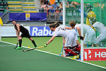 The Hague, Netherlands, June 08: Players of Germany lined up on the goal line prior to a penalty corner during the field hockey group match (Men - Group B) between the Black Sticks of New Zealand and Germany on June 8, 2014 during the World Cup 2014 at Kyocera Stadium in The Hague, Netherlands. Final score 3-5 (1-3) (Photo by Dirk Markgraf / www.265-images.com) *** Local caption *** Martin Haener #6 of Germany