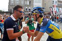 Alberto Contador (r) and Oscar Pereiro during the stage of La Vuelta 2012 between Ponteareas and Sanxenxo.August 28,2012. (ALTERPHOTOS/Paola Otero) /NortePhoto.com<br /> <br /> **CREDITO*OBLIGATORIO** <br /> *No*Venta*A*Terceros*<br /> *No*Sale*So*third*<br /> *** No*Se*Permite*Hacer*Archivo**<br /> *No*Sale*So*third*
