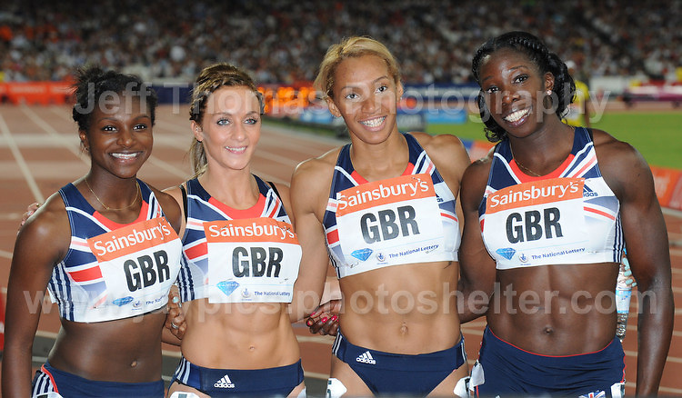 The 2nd of the Women's Great Britain's 4x100m relay team at the Sainsbury Anniversary Games, Olympic Stadium, London England,Saturday 27th July 2013-Copyright owned by Jeff Thomas Photography-www.jaypics.photoshelter.com-07837 386244. No pictures must be copied or downloaded without the authorisation of the copyright owner.