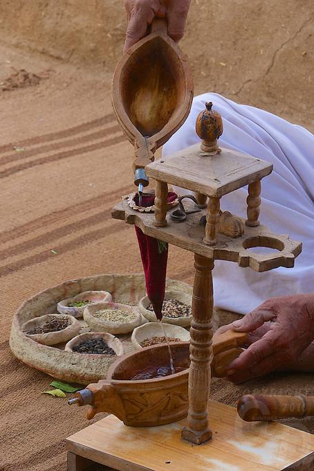 Preparing Opium in a traditional village in the Thar Desert.Village and rural life near Jodhpur, Rajasthan, India