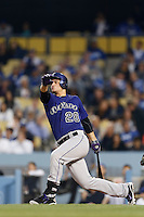 Nolan Arenado #28 of the Colorado Rockies bats against the Los Angeles Dodgers at Dodger Stadium on April 30, 2013 in Los Angeles, California. (Larry Goren/Four Seam Images)