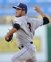 NWA Democrat-Gazette/ANDY SHUPE<br /> San Antonio starter Ronald Herrera delivers a pitch Wednesday, Aug. 12, 2015, against the Northwest Arkansas Naturals during the third inning at Arvest Ballpark in Springdale.