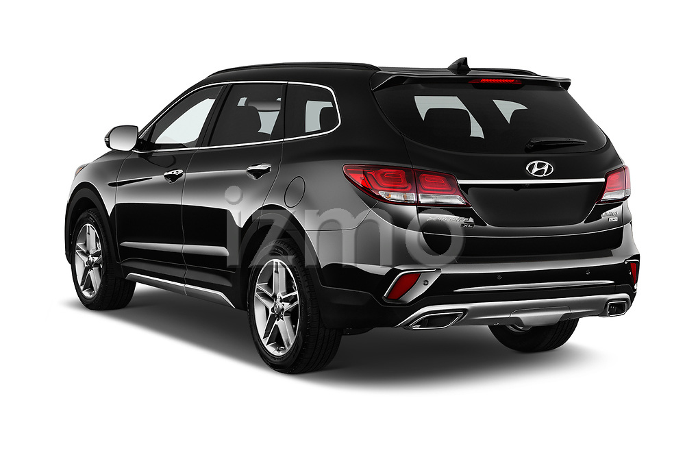 Car pictures of rear three quarter view of a 2019 Hyundai Santa FE XL Limited Ultimate 5 Door SUV angular rear