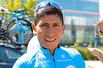 Nairo Quintana (COL) Movistar Team outside the team hotel before the 2019 Tour de France starting in Brussels, Belgium. 4th July 2019<br /> Picture: Colin Flockton | Cyclefile<br /> All photos usage must carry mandatory copyright credit (© Cyclefile | Colin Flockton)