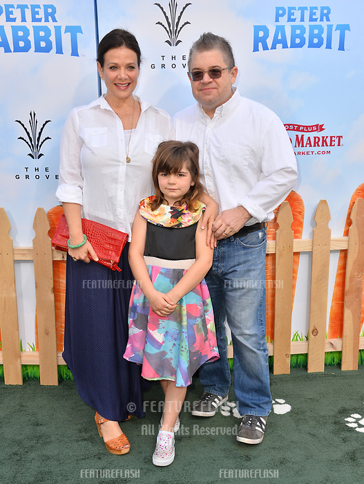 Patton Oswalt, Meredith Salenger &amp; Alice Rigney Oswalt at the world premiere for &quot;Peter Rabbit&quot; at The Grove, Los Angeles, USA 03 Feb. 2018<br /> Picture: Paul Smith/Featureflash/SilverHub 0208 004 5359 sales@silverhubmedia.com