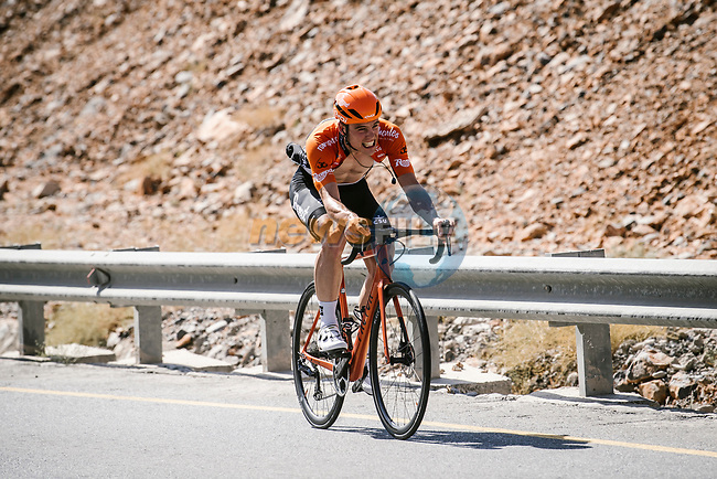 Stijn Steels (BEL) Roompot-Charles from the breakaway during Stage 5 of the 10th Tour of Oman 2019, running 152km from Samayil to Jabal Al Akhdhar (Green Mountain), Oman. 20th February 2019.<br /> Picture: ASO/P. Ballet | Cyclefile<br /> All photos usage must carry mandatory copyright credit (© Cyclefile | ASO/P. Ballet)
