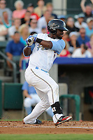 Second baseman Odubel Herrera (15) of the Myrtle Beach Pelicans in a game against the Potomac Nationals on Friday, August 9, 2013, at TicketReturn.com Field in Myrtle Beach, South Carolina. Myrtle Beach won, 3-2. (Tom Priddy/Four Seam Images)
