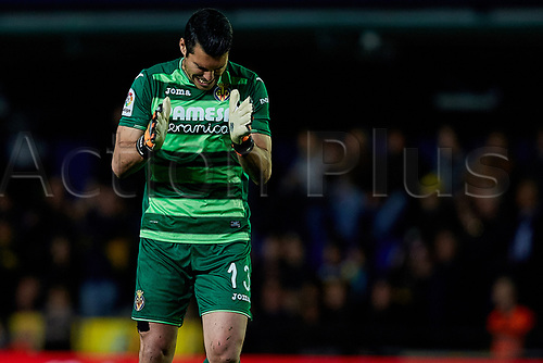 April 28th 2017, Vila-real, Castellon, Spain, La Liga football league, Vilarreal versus Real Sporting de Gijon; Andres Fernandez of Villarreal CF celebrates the goal for 1-0 in the 30th minute;