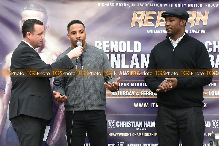Lennox Lewis (R) and Andre Ward (C) during a Poxon Sports Weigh-In at Westfield Shopping Centre on 3rd February 2017