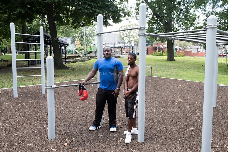 Jason Smith Perry is 27 and lives in East Germantown, Pennsylvania, with his mother. He previously worked at the Philadelphia Navy Yard, but has been unemployed for four years, occasionally selling drugs to make ends meet. He is seen here in Vernon Park on Tues., July 26, 2016. He spends time in the park most days teaching local youth how to box.